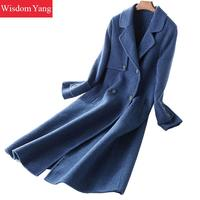 Winter Blue Coat Belt Full Sleeve Sheep Wool Aplaca 2018 Coats Women Slim Beige Xlong Oversize Casual Woolen Overcoat Outerwear