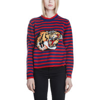 Design Tiger Embroidered Sweater Women Autumn Winter Long Sleeve Fashion Blue Red Stripe Cashmere Knitted Sweaters