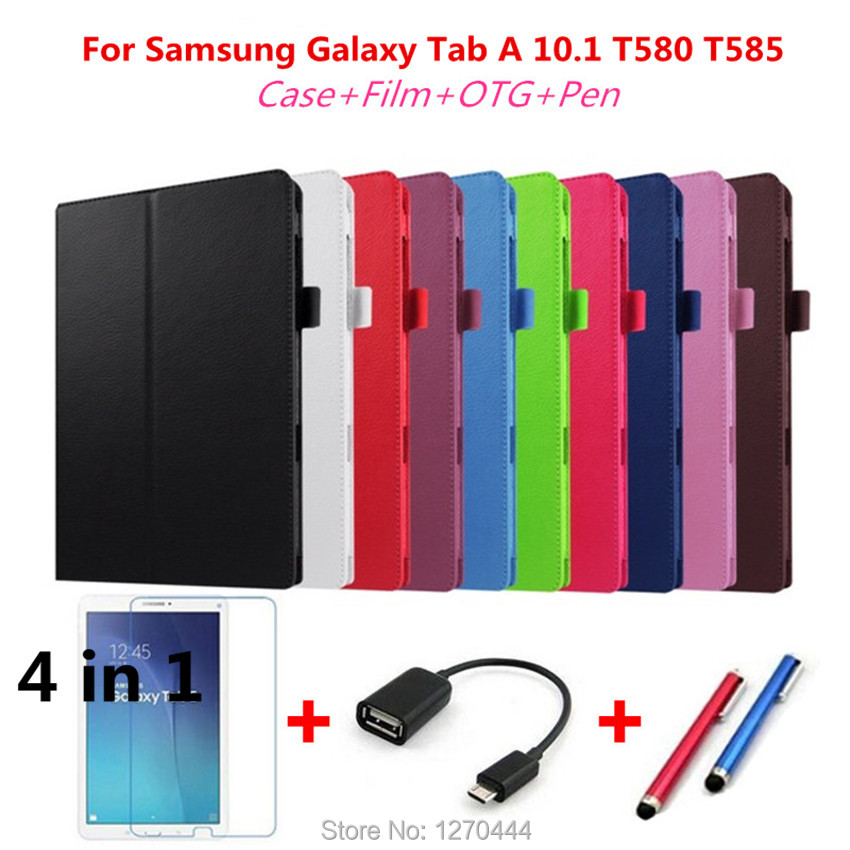 Litchi skin PU Leather stand case cover For Samsung Galaxy Tab A A6 10.1 2016 SM-T580 T580N T585 T585C tablet cover+Pen+Film+OTG wholesale pu leather case stand cover for samsung galaxy tab 3 7inch tablet sm t110 film pen reel u0314 15