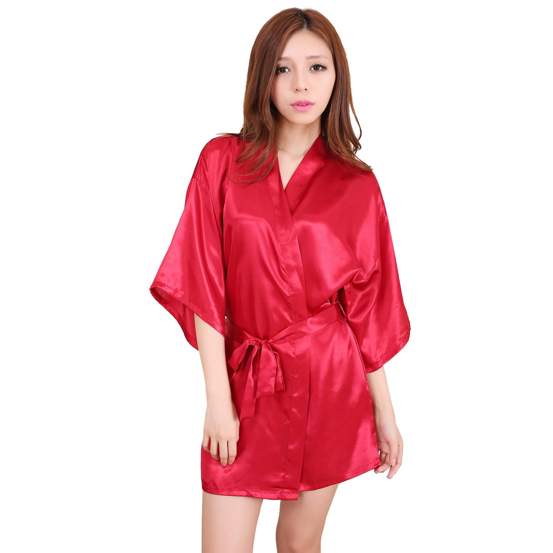 Chinese Red Women Robe Bridesmaid Cosmetic Wear Kimono