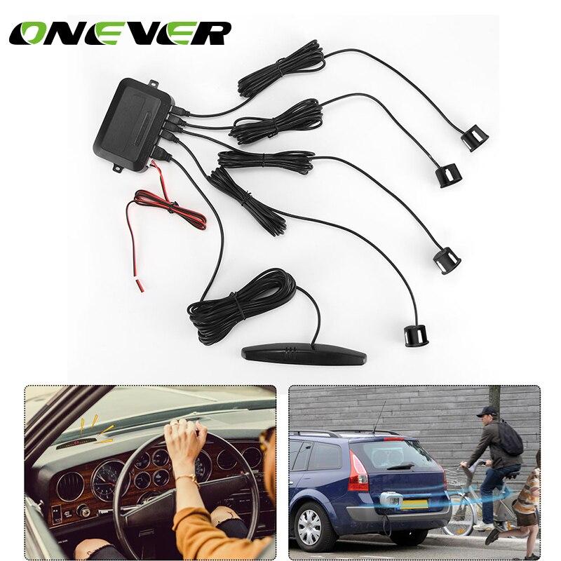 ONEVER датчики парковочных 4 Датчики Водонепроницаемый ЖК-дисплей Дисплей монитор двухъядерный заднего вида обратный радиолокатор Комплект автомобиль -детектор