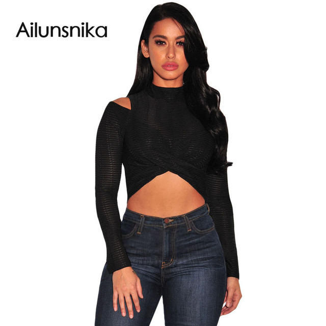 Nova moda chegada 2017 texturizado arco mangas compridas top colheita de outono elegante gola clubwear cut out shoulder sexy DL25951