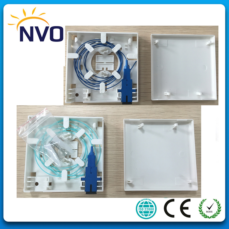10Pcs/Lot,FTTH 2Port Wall mount FTTH 86 Fiber Optic Socket Panel with 2pcs SM SX 0.9MM 1M SC/UPC Pigtail+SM SX SC/UPC Adaptor