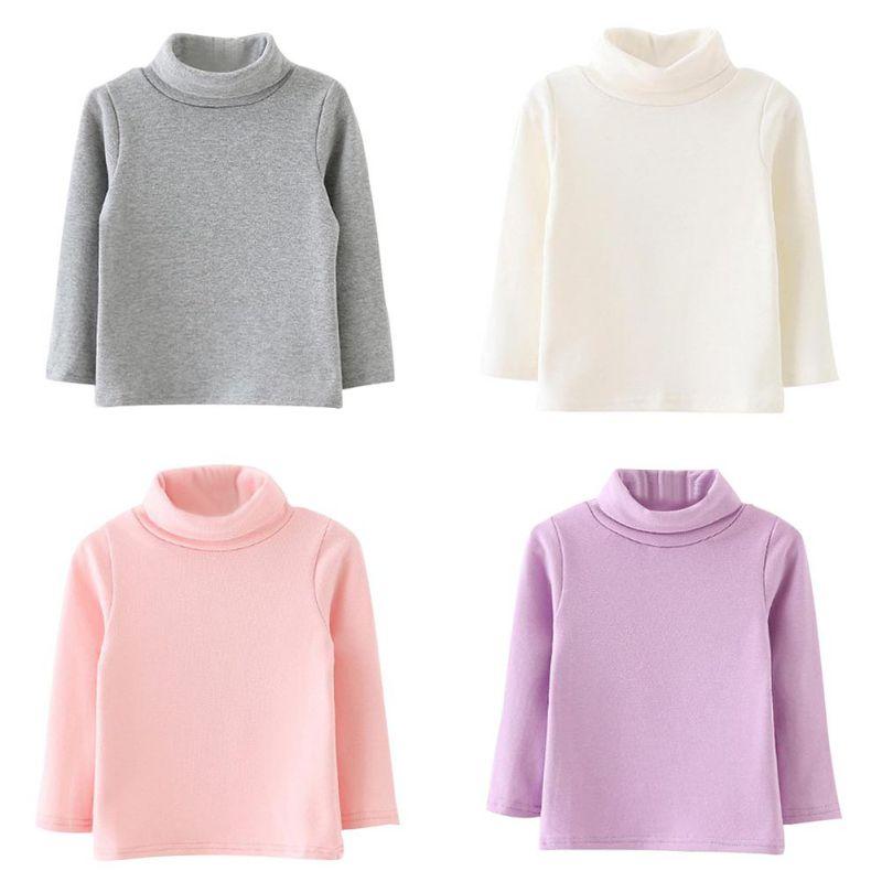 2018 Candy Farbe Winter Baby Mädchen Lange-sleeve Warme Hochgeschlossenen Bodenbildung Shirt Baumwolle Kinder Shirts J4 SpäTester Style-Online-Verkauf Von 2019 50%