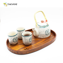 Creative Japanese Sakura Solid Wood Tea Plate Oval Wooden Plate (Fruit / Dim Sum) Food Candy Coffee Tray Tea Set