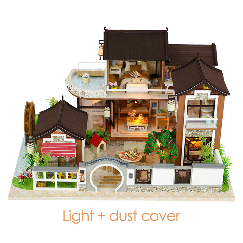 DIY Dollhouse Miniature 3D Doll House With Furniture Vintage Building Kits 3D House For Dolls Toys For Children Birthday Gift