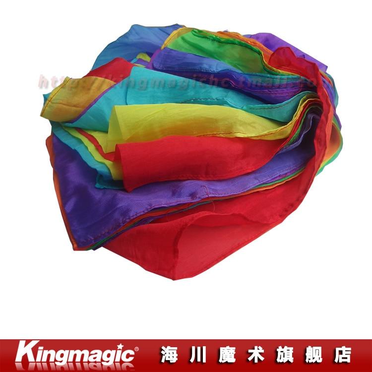 Arc-en-ciel soie Streamer (45 CM * 1000 CM) soie fontaine cascade soie magique Ultra-mince soie foulard magique accessoires magia