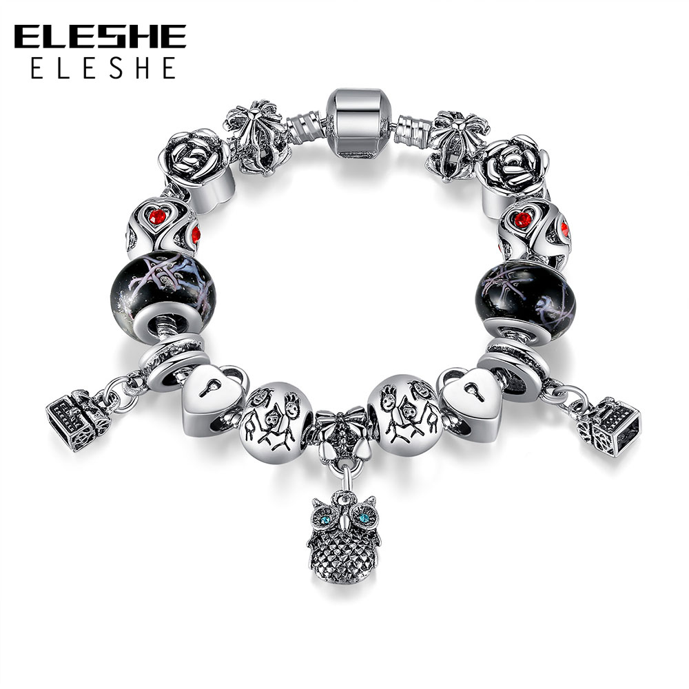 Eleshe Fashion Jewelry Enamel Silver Owl Charm Bracelet European Murano  Glass Bead Crystal Heart Charm Bracelet