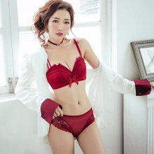 Red black blue and lace bralette underwear women set Bra breast lift tape rabbit bra panty  In the thick