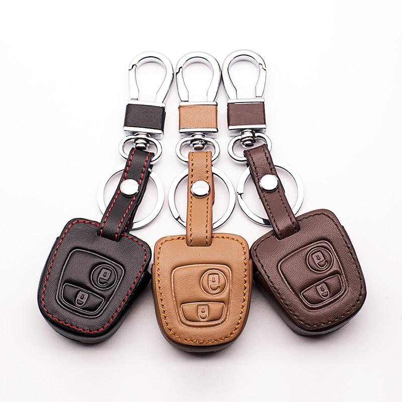 2-button MAXIOU Leather Key Cover for PEUGEOT 206 207 307 308 407 408 Citroen Picasso Xsara C2 C3 C4 C4L C5 C6 Quatre Protector Keychain FOB Case Chain Red
