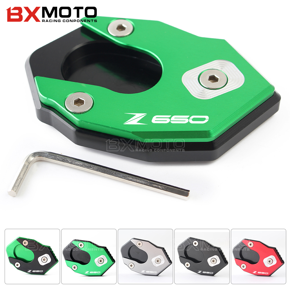 BXMOTO Aluminum CNC kickstand Footside Side Stand Extension Englarger Plate Pad For kawasaki Z650 Z900 Z 650 900 2017 for bmw f800r 2009 2012 2013 2014 hp2 08 motorcycle cnc aluminum side stand enlarger cnc kickstand pate pad side stand enlarger