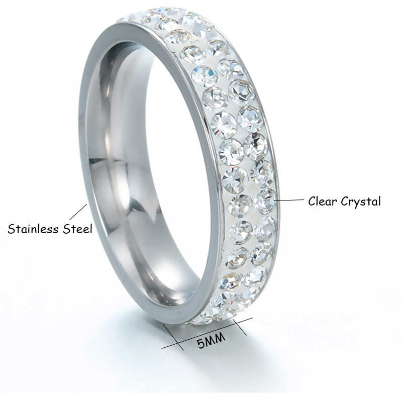 Letdiffery 1 Pcs สแตนเลสสตีลเงินผู้หญิงแหวนสองแถว Clear คริสตัลแหวนหมั้นคริสตัลแฟชั่นเครื่องประดับ