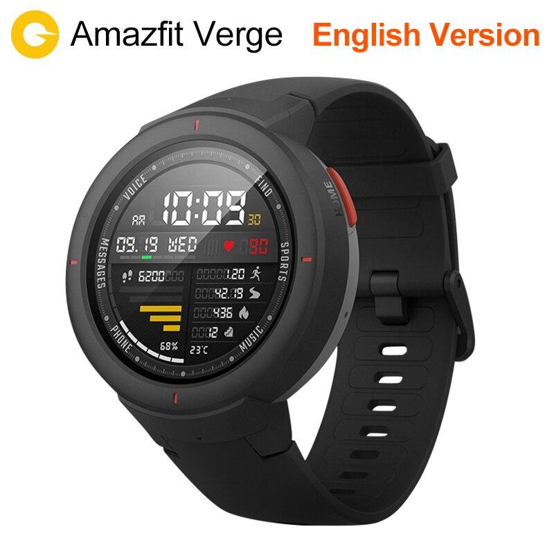 Huami Amazfit Verge Smart Watch русский Спорт Смарт часы gps Bluetooth воспроизведения музыки вызова Ответ сообщение Push сердечного ритма мониторы