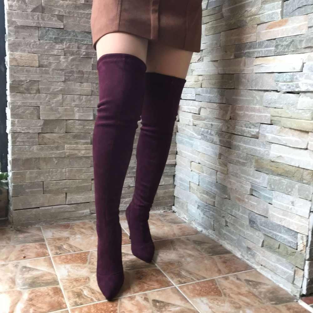 615cdb60a28c ... Эластичные Замшевые женские облегающие высокие сапоги на шпильке,  пикантные ботфорты с острым носком, высокие ...
