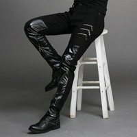 New fashion tight fitting slim black leather men pants black zipper hip hop skinny male trousers nightclub bar costumes 27 36