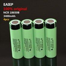 4PCS 100% New Original NCR18650B 3.7 v 3400 mah 18650 Lithium Rechargeable Battery EAIEP Flashlight batteries