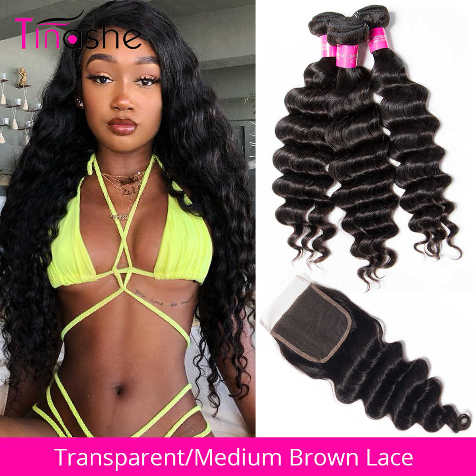 Tinashe Hair Brazilian Loose Deep Wave Bundles With Closure HD Transparent Lace Closure  Remy Human Hair 3 Bundles With Closure