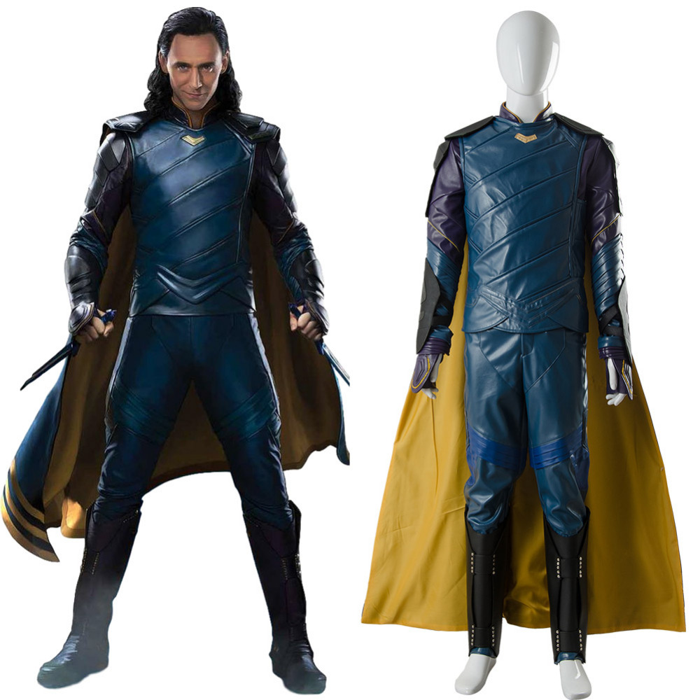 Thor Ragnarok Loki Laufeyson Cosplay Costumes Thor 3rd Blue Arena Battle Suits Halloween Outfit Full Set with Cloak