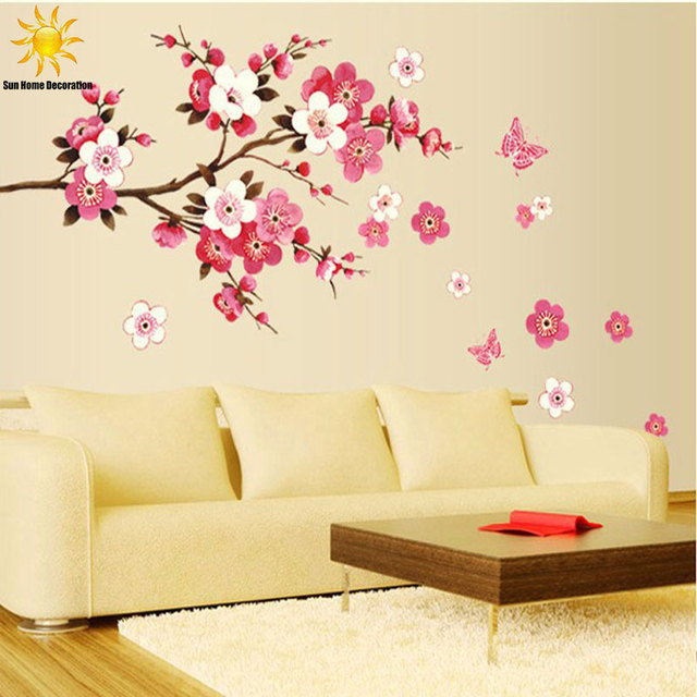 Removable PVC Modern Peach blossom Butterfly Home Decor Art Wedding ...