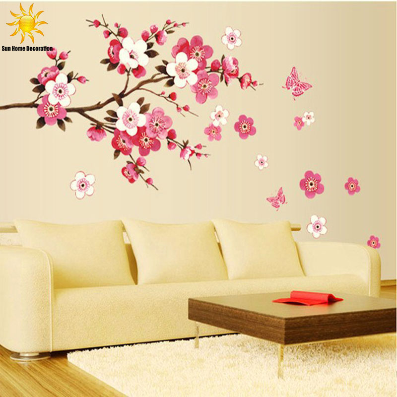 Removable PVC Modern Peach blossom Butterfly Home Decor Art Wedding Room Girls Room Wall Stickers Decal Poster