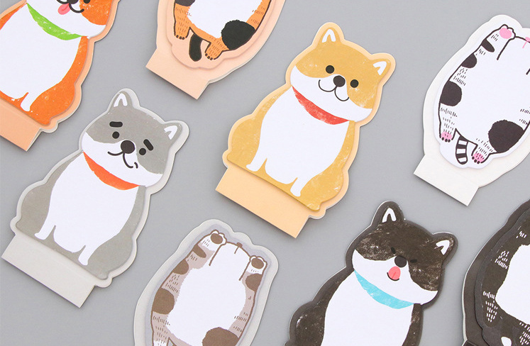 Cute fat cat dog Self-Adhesive Memo Pad Sticky Notes Post It Bookmark School Office Supply Escolar Papelaria
