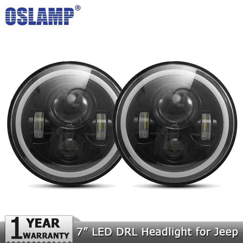 Oslamp 2 шт. 7 дюймов светодиодный лампы Янтарный Белый Halo угол глаза DRL светодиодный налобный фонарь 12 В для Jeep Wrangler JK TJ LJ для Land Rover