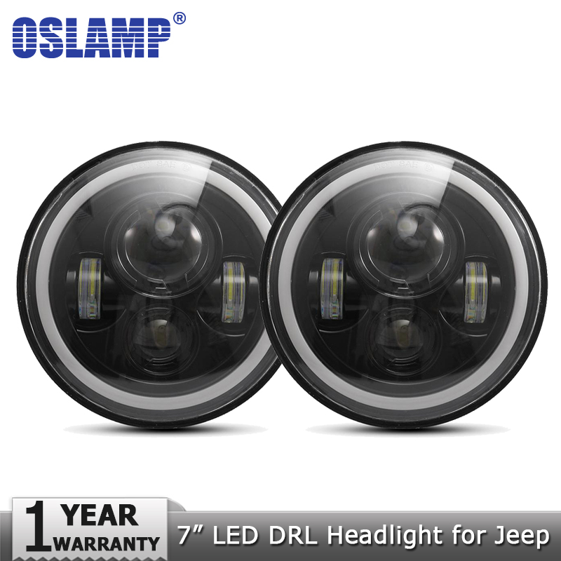 Oslamp 2pcs 7inch LED Headlight Bulbs Amber White Halo Angle Eyes DRL Led Headlamp 12v for Jeep Wrangler JK TJ LJ for Land Rover 7inch round halo headlights 45w wrangler jk high low beam headlamp 7 angel eyes projector head light for jeep land rover