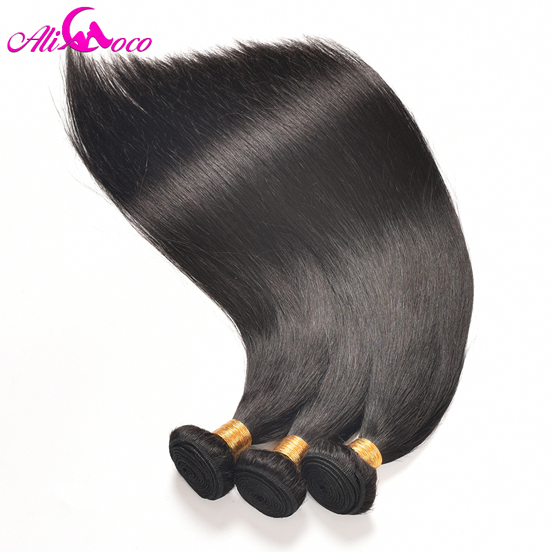 Ali Coco Brazilian Straight Hair 360 Lace Frontal Closure With Bundles Human Hair 3 Bundles With Closure Frontal Non remy Hair-in 3/4 Bundles with Closure from Hair Extensions & Wigs    3