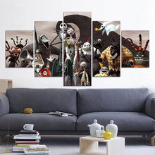 5 Pieces Canvas The Nightmare Before Christmas Modular Pictures panel painting Wall Art poster and prints F228