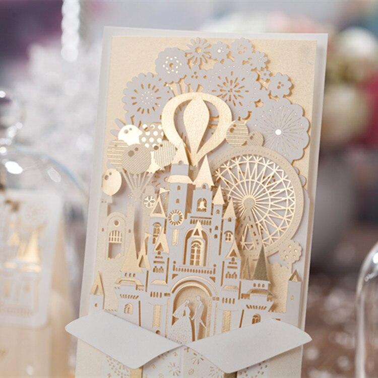 Wishmade szampańskie złoto 3D zaproszenia ślubne laserowo wycinane zaproszenia panna młoda i pan młody zamek na wesele, konfigurowalny