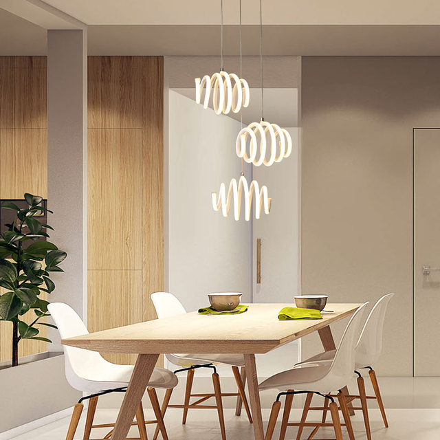 Modern Led Pendant Light For Kitchen Dining Room White Lamp Bedroom Round Roll Hanging Lamp