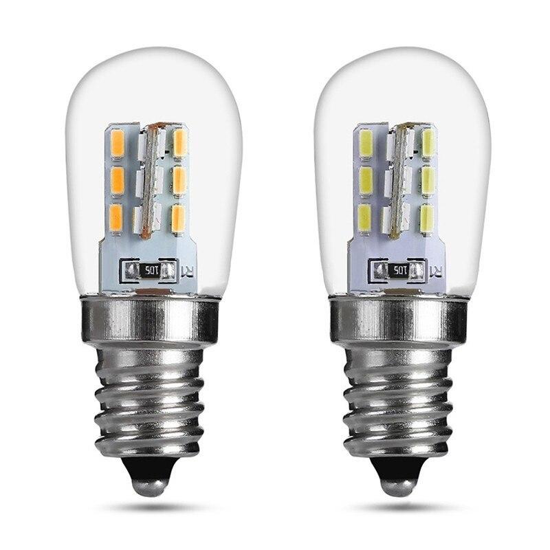 Lumière LED ampoule E12 2 W E12 LED haute luminosité verre abat-jour lampe Pure blanc chaud éclairage pour Machine à coudre réfrigérateur