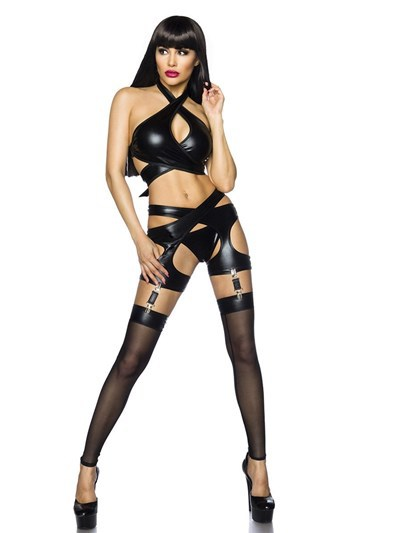 Sexy Women Faux Leather Fetish Black PVC Suit Open Crotch Lace-Up Porn Sexy Lingerie Erotic Latex Catsuit