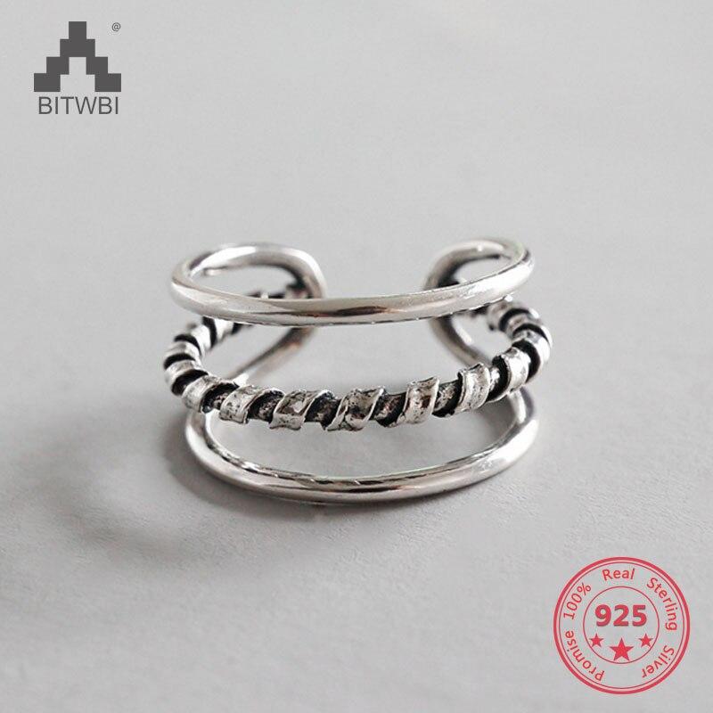 100% 925 Sterling Silber Schmuck Verdreht Seil Muster Offene Ringe Für Frauen Eine GroßE Auswahl An Farben Und Designs