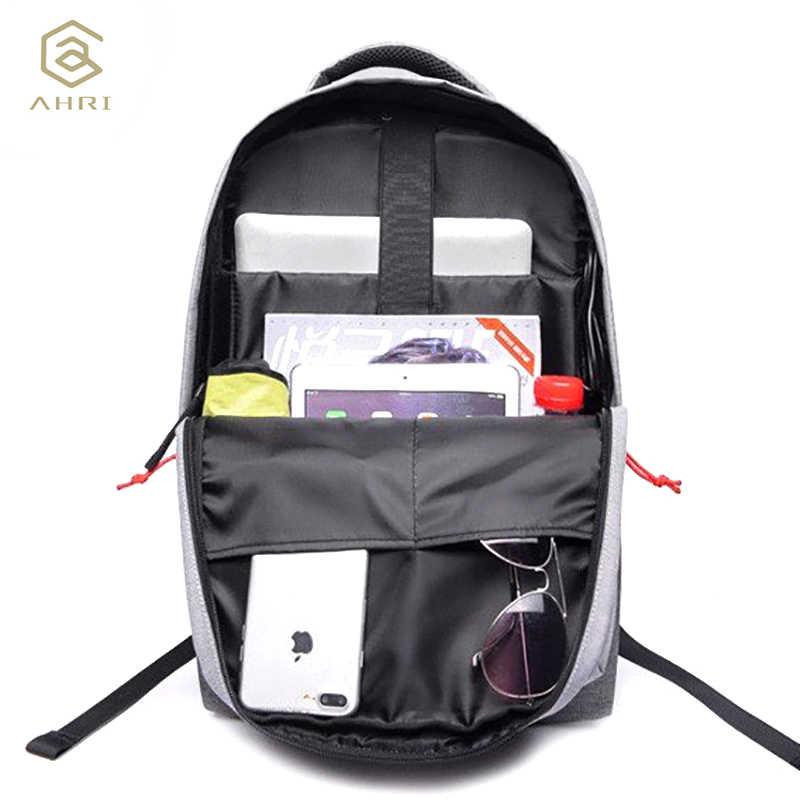 """AHRI 2017 חדש עיצוב מותג גברים תרמיל נגד גניבה חיצוני USB תשלום יציאת עבור 14 """"מחשב נייד תרמיל בית הספר תרמיל תיק"""