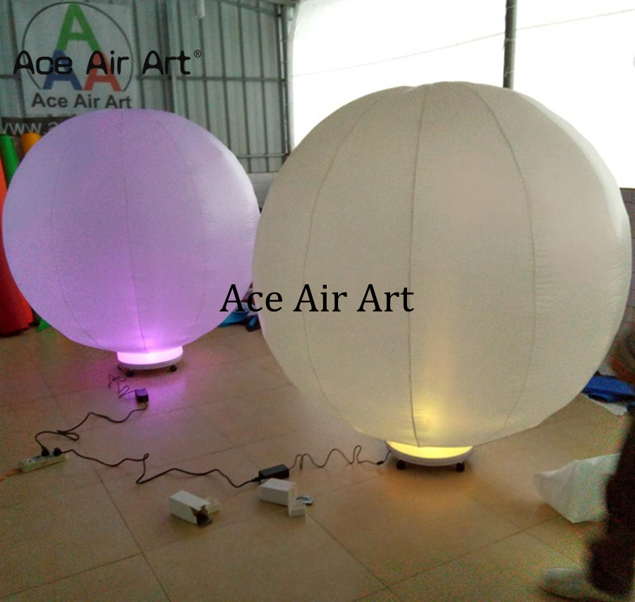 Popular led inflatbale ground ball,1m H air balloon globular model for stage and party decoration