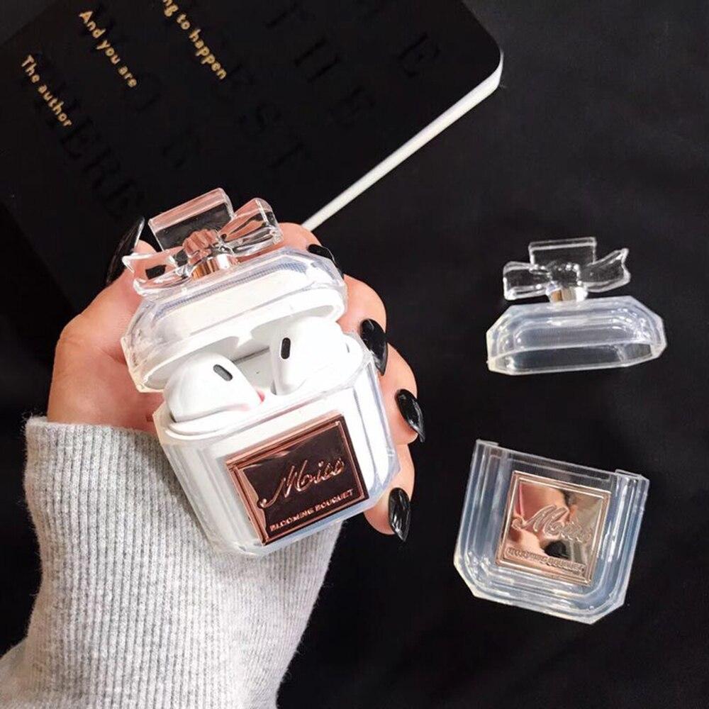 Silikon Fall Parfüm flasche Zwei Farben Für Airpods Kopfhörer Schutzhülle Luxus Stoßfest und Drop Klar Weichen TPU Fall