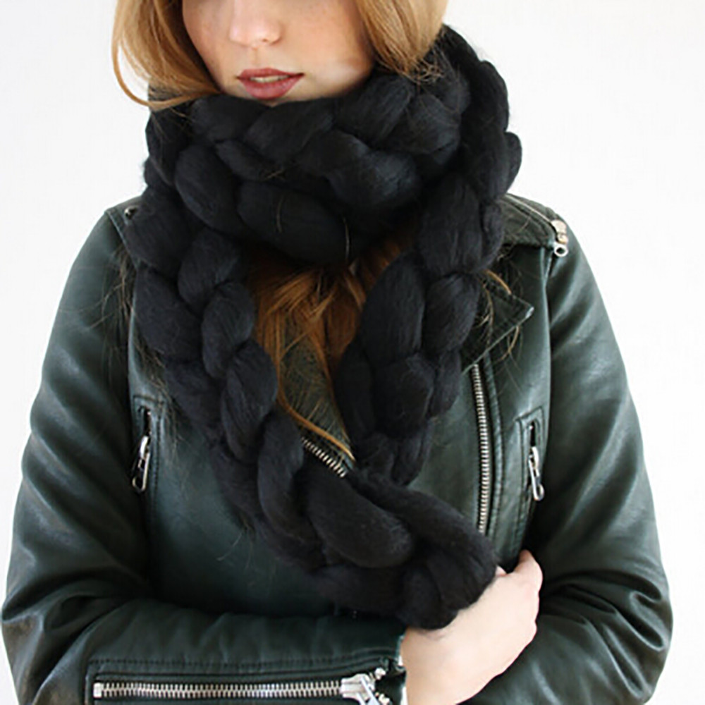 New arrival fashion women winter imitation wool hand weaving braids warm scarves drop shipping