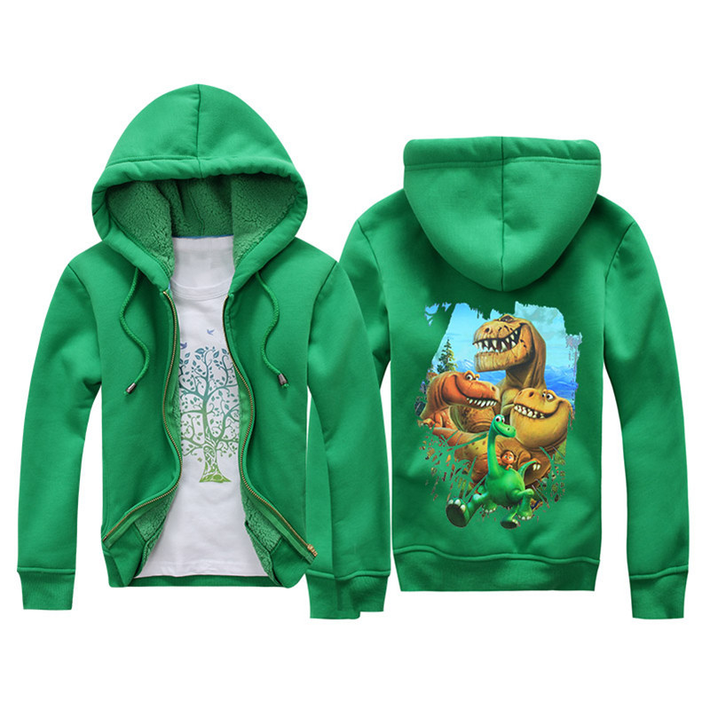 Jiuhehall Cartoon Dinosaur Berber Fleece Coats For Kids 2016 New Fashion Children Parkas 6 Colors Hooded Zipper Jackets JCM018 (2)