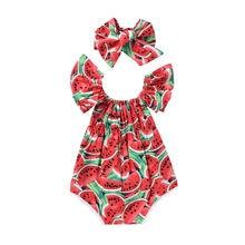 Очаровательный комбинезон для новорожденных девочек; одежда с арбузами; комбинезон с оборками+ повязка на голову; комплект из 2 предметов; пляжный костюм