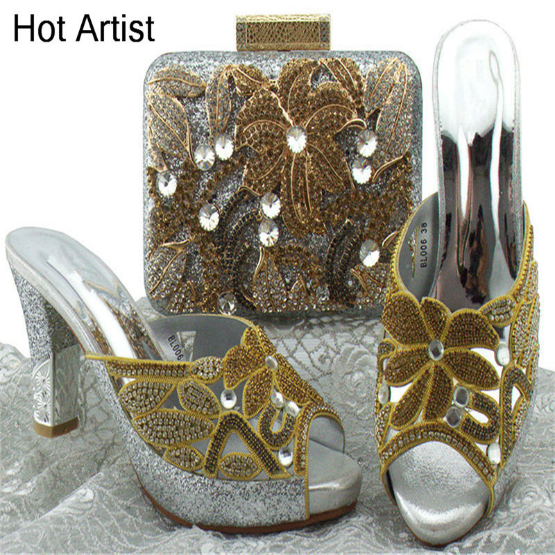 Hot Artist New Arrival African Woman Shoes And Bag Set Summer Italian Shoes With Matching Bag Set For Party Size 38-42 BL006