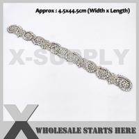 New Bridal Crystal Rhinestone Applique Iron On Beaded Patch,For Headband,Sash Belt,X1 RAT2432
