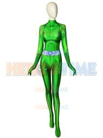 Sam Totally Spies Costume DyeSub 3D Printing Green Spandex Cosplay Fullbody Zentai Suit For Felame/Lady/Girl/Custom Made