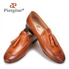 Piergitar chaussures pour hommes avec pompon en cuir véritable, deux couleurs, pantoufles de tabac faites à la main, mocassins pour mariage et fête