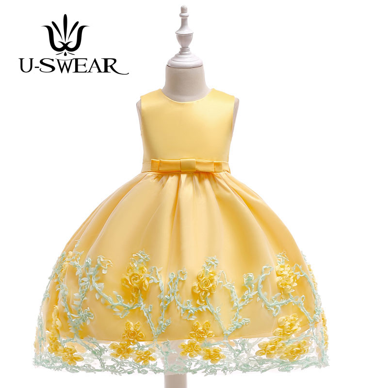 U-SWEAR 2019 New Arrival Kid   Flower     Girl     Dresses   O-neck Sleeveless   Flower   Appliqued Big Bow Back Pageant   Dress   Vestidos