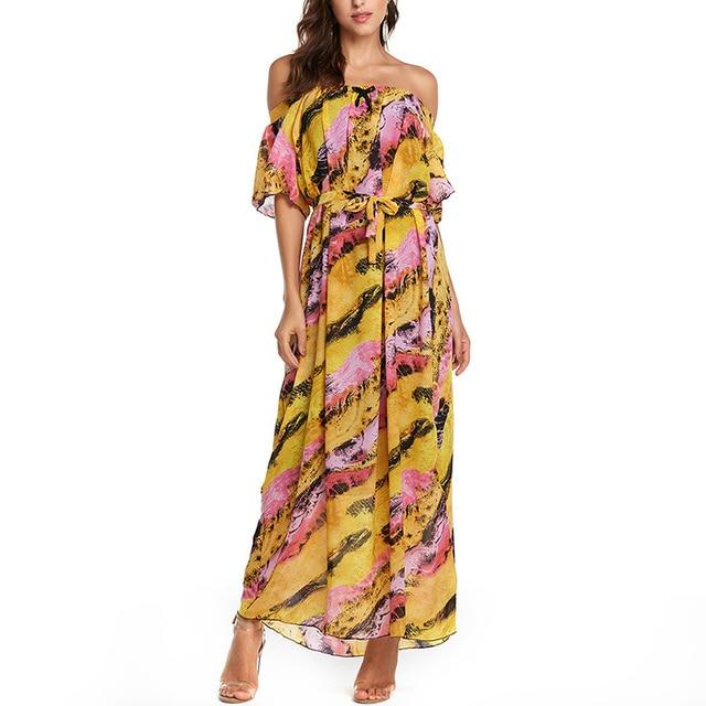 AIEnny Off Shoulder Summer 2018 Long Maxi Dresses Women Short Sleeve Neck