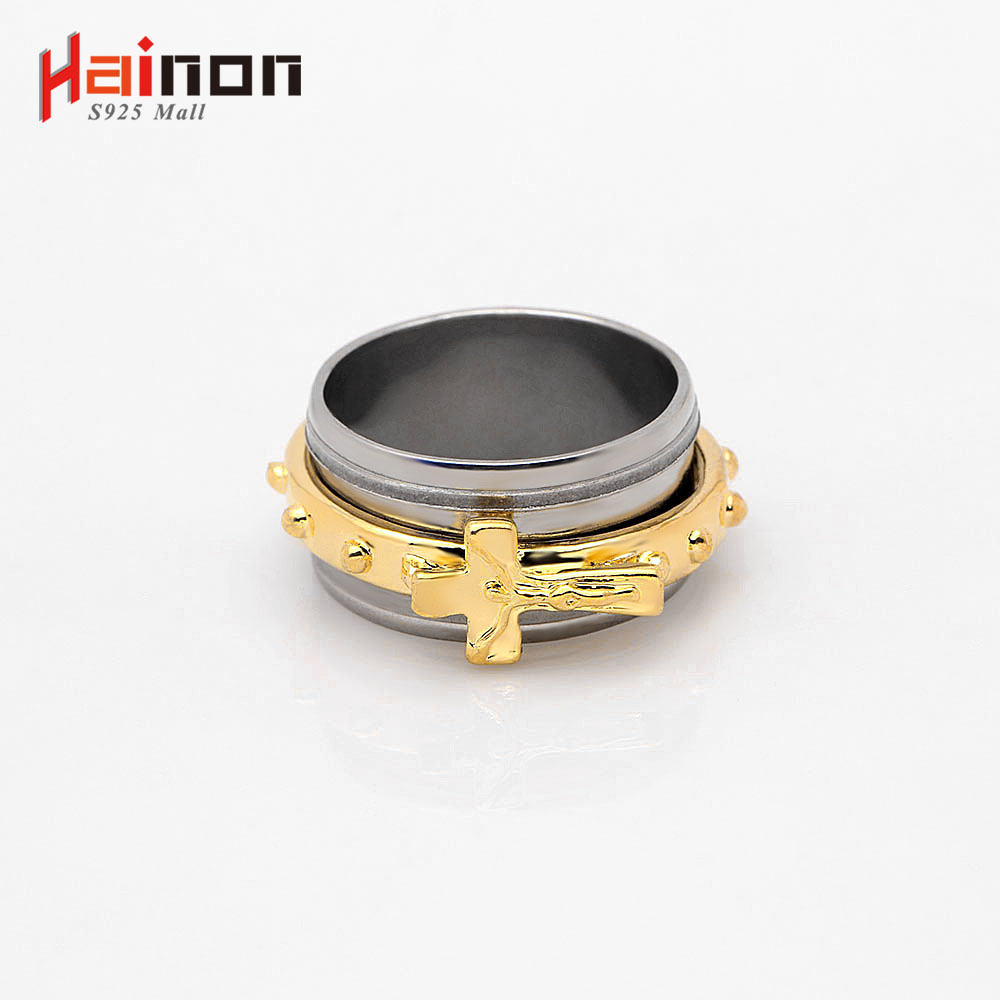 Hainon New Fashion 316L Stainless Steel Rings Gold & Silver Color Cross Jewelry Wholesale Female Party Finger Rings Jewelry