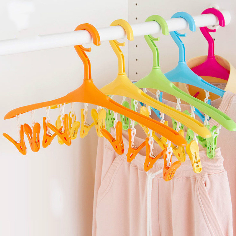 Multi-function Baby Hanger Windproof buckle clothes hanger +8 clips plastic 360 degree rotation drying rack for closet organizer