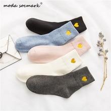 Moda Socmark New Socks Women Girls Casual Heart Candy Colors Cotton Comfortable Harajuku Short Fashion Female Funny