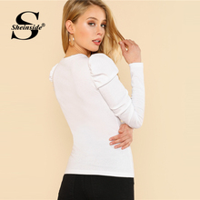 Women T-shirt Puff Sleeve Slim Fit Top Rib Knit Tee Shirt 2018 Shirts Elegant Womens Long Sleeve Tops